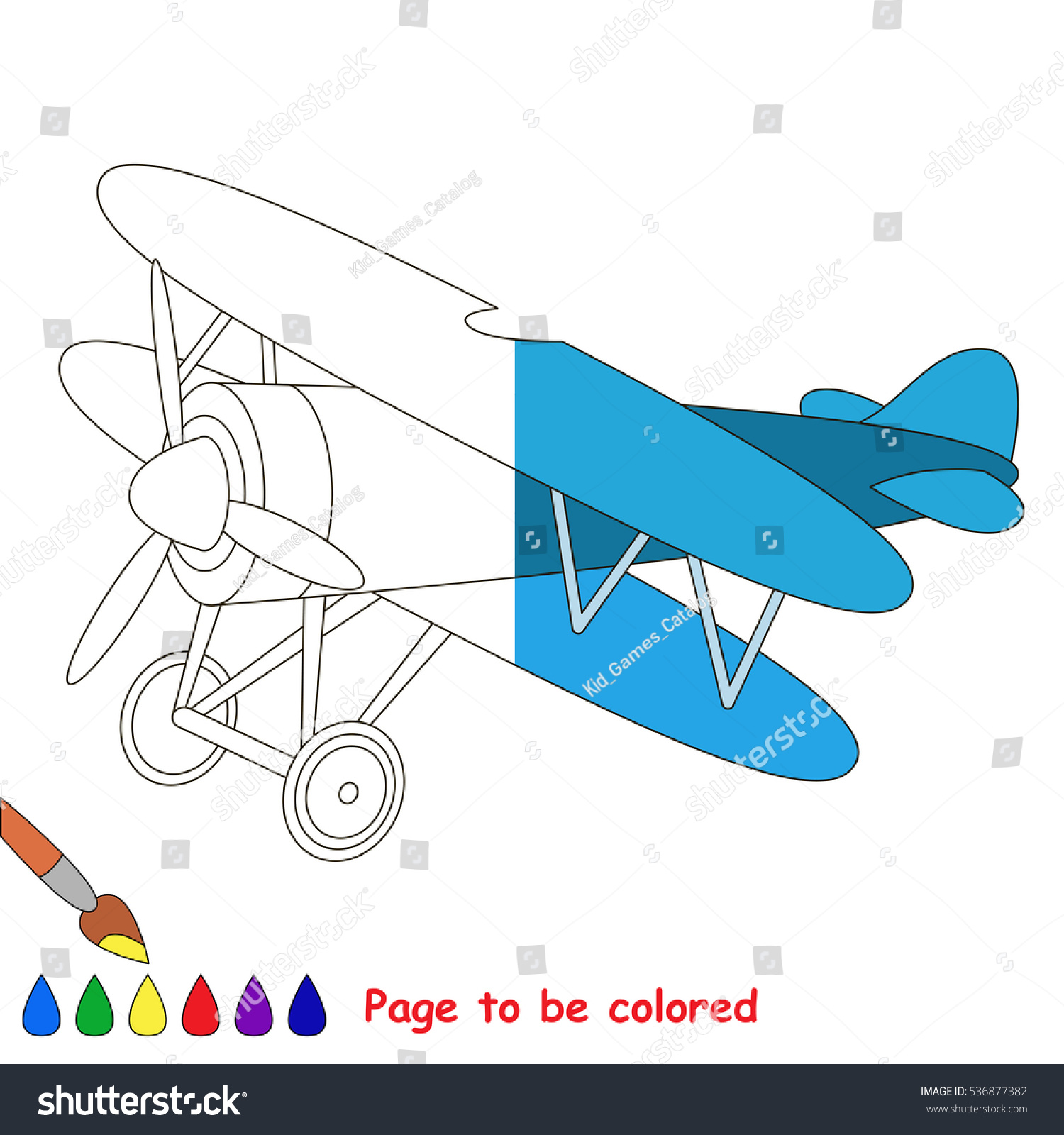 Airplane Be Colored Coloring Book Educate Stock Vector