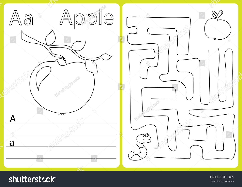 Alphabet Az Puzzle Worksheet Exercises Kids Stock Vector