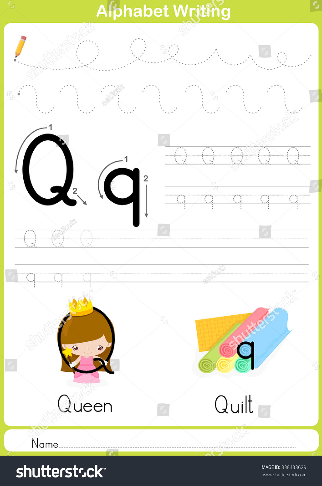Alphabet Az Tracing Worksheet Exercises Kids Stock Vector
