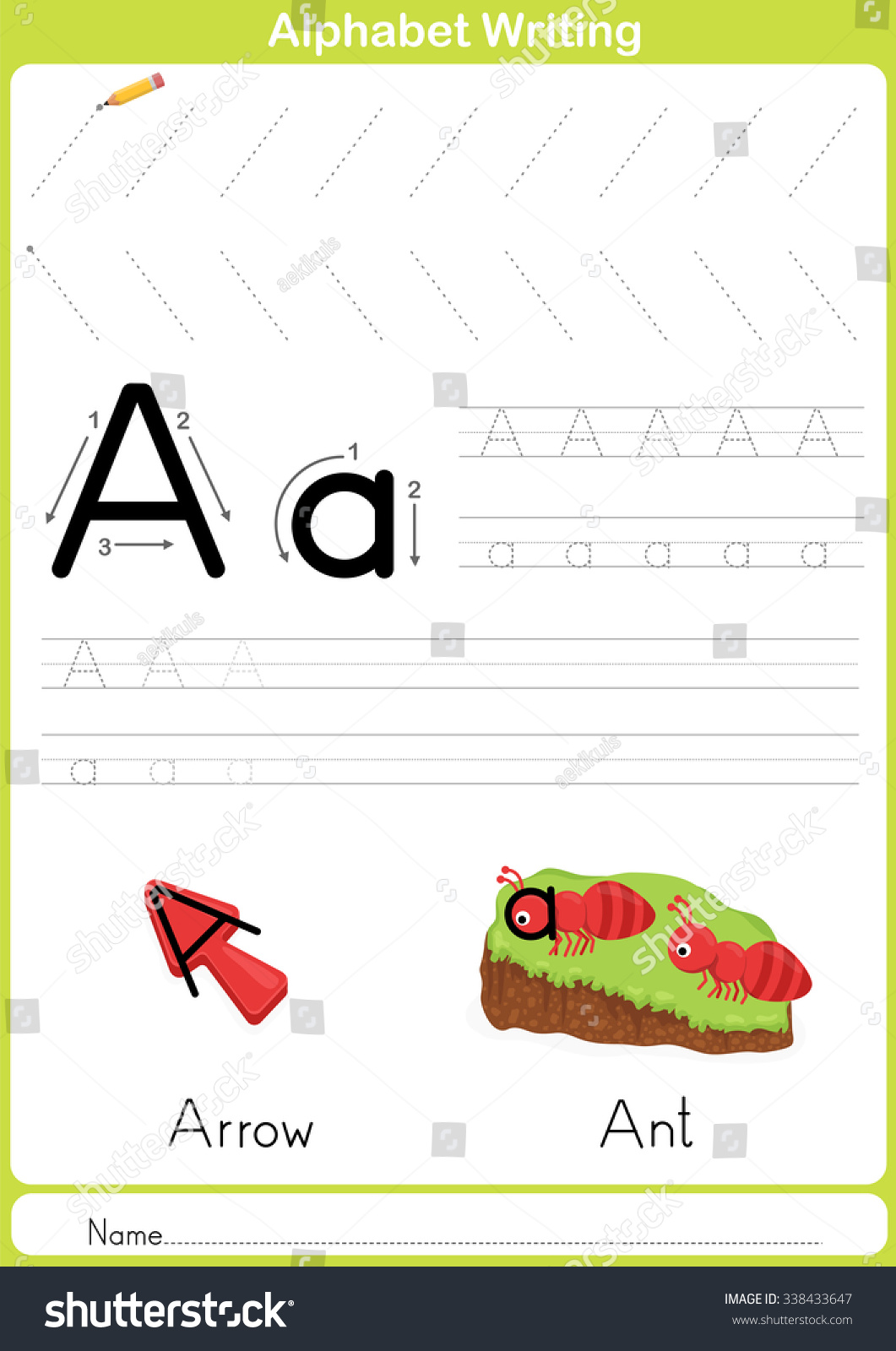 Alphabet Az Tracing Worksheet Exercises Kids