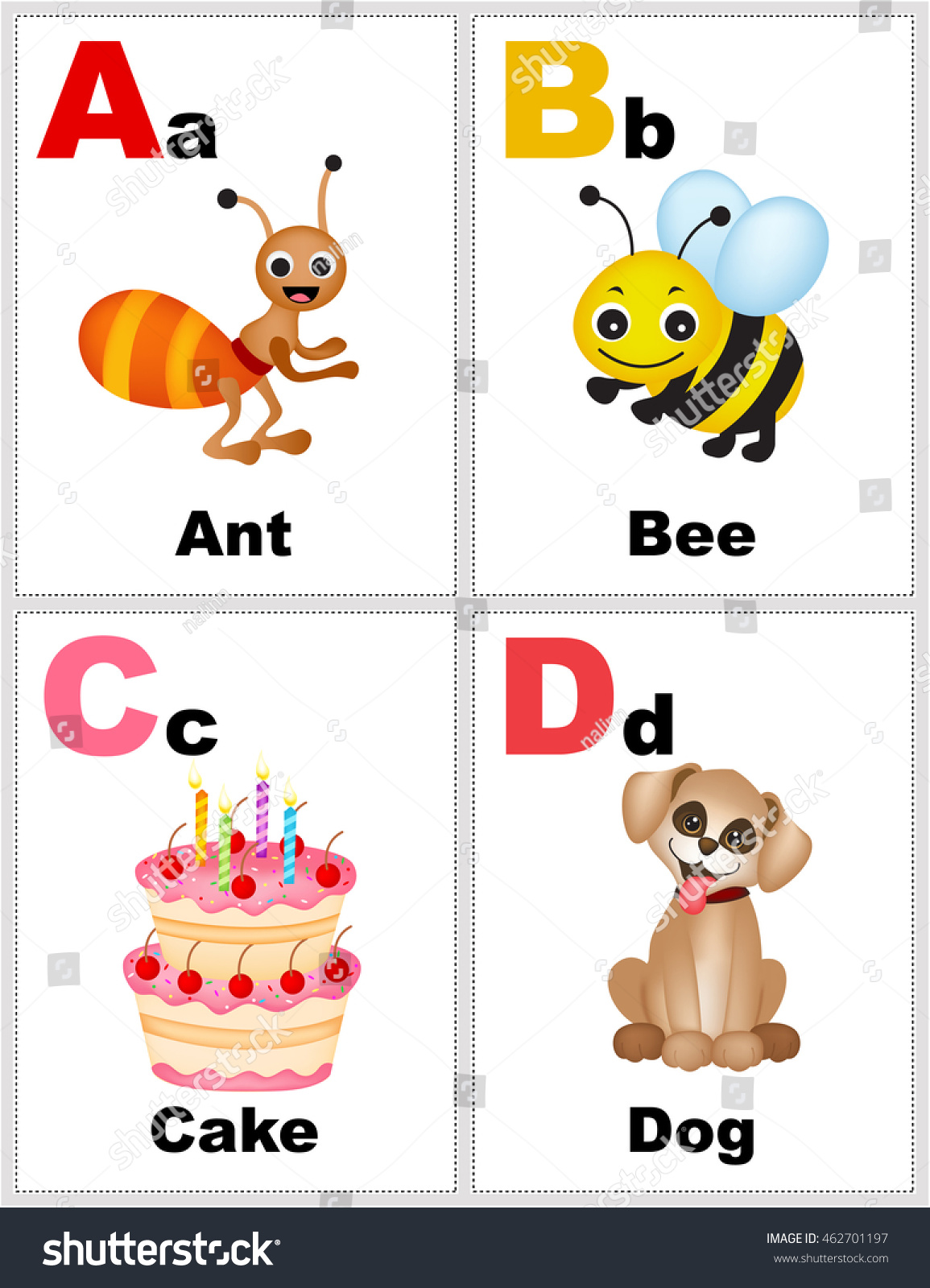 Alphabet Printable Flashcards Collection Letter Abcd Stock