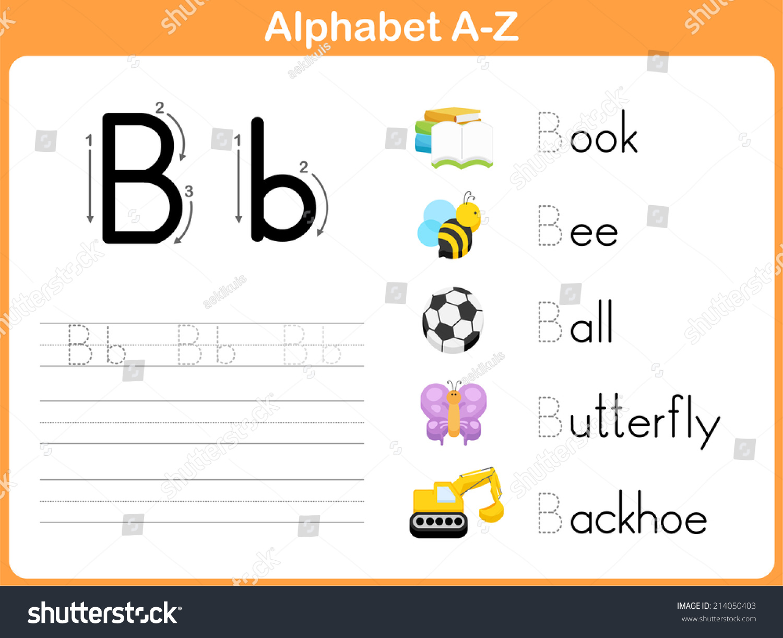 Alphabet Tracing Worksheet Writing A Z Stock Vector Shutterstock