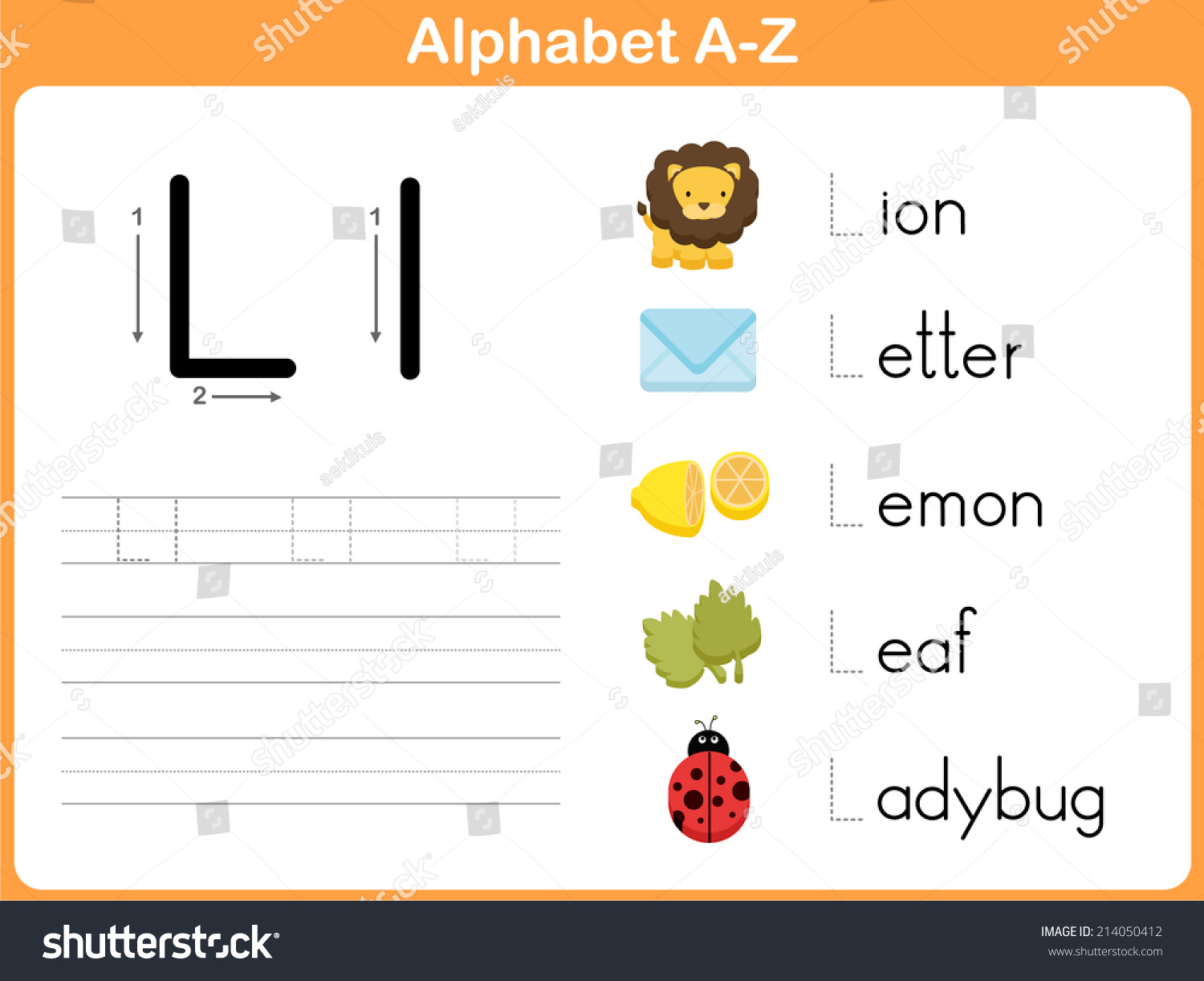 Alphabet Tracing Worksheet Writing A Z Stock Vector Illustration Shutterstock