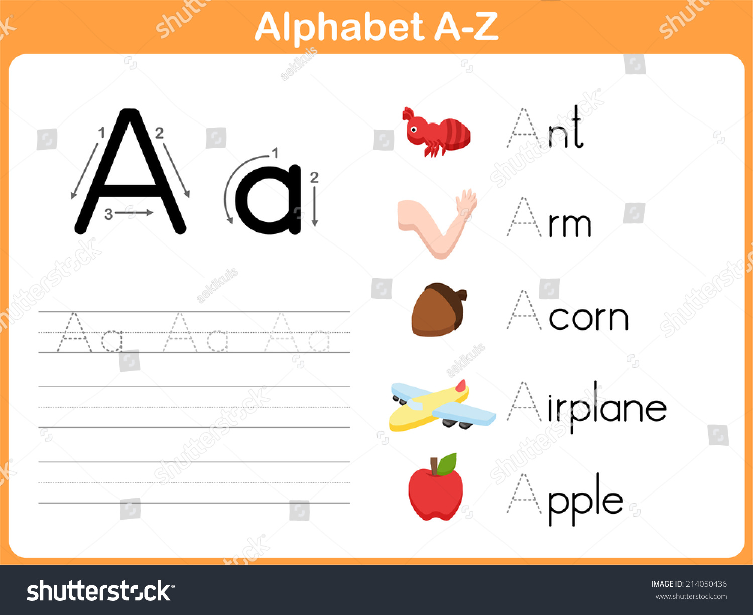 Alphabet Tracing Worksheet Writing Az Stock Vector