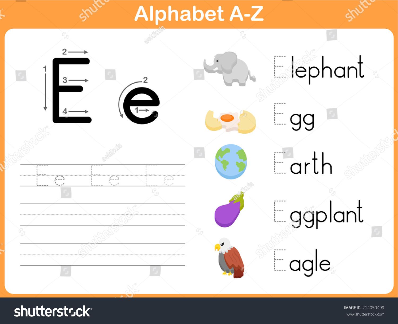 Alphabet Tracing Worksheet Writing Az Stock Vector