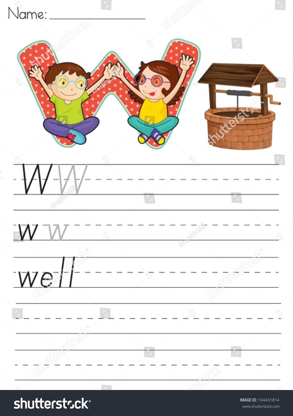 Alphabet Worksheet Of The Letter W Stock Vector