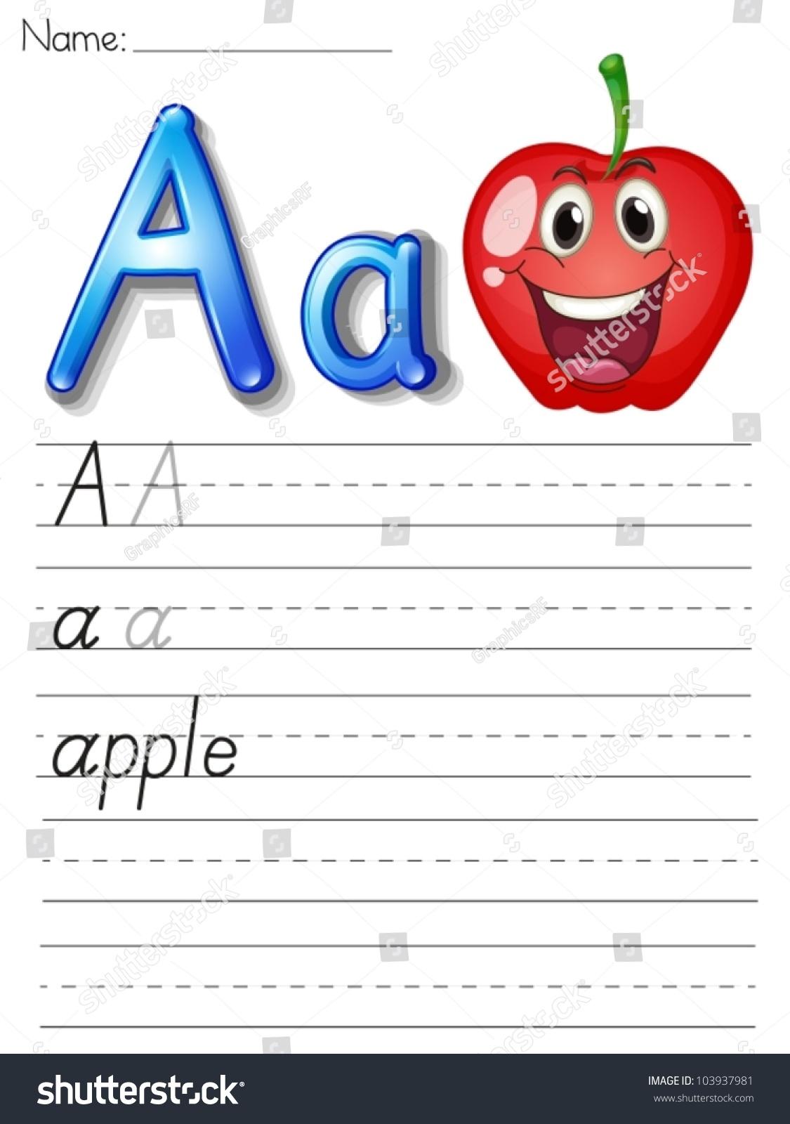 Alphabet Worksheet On White Paper Stock Vector