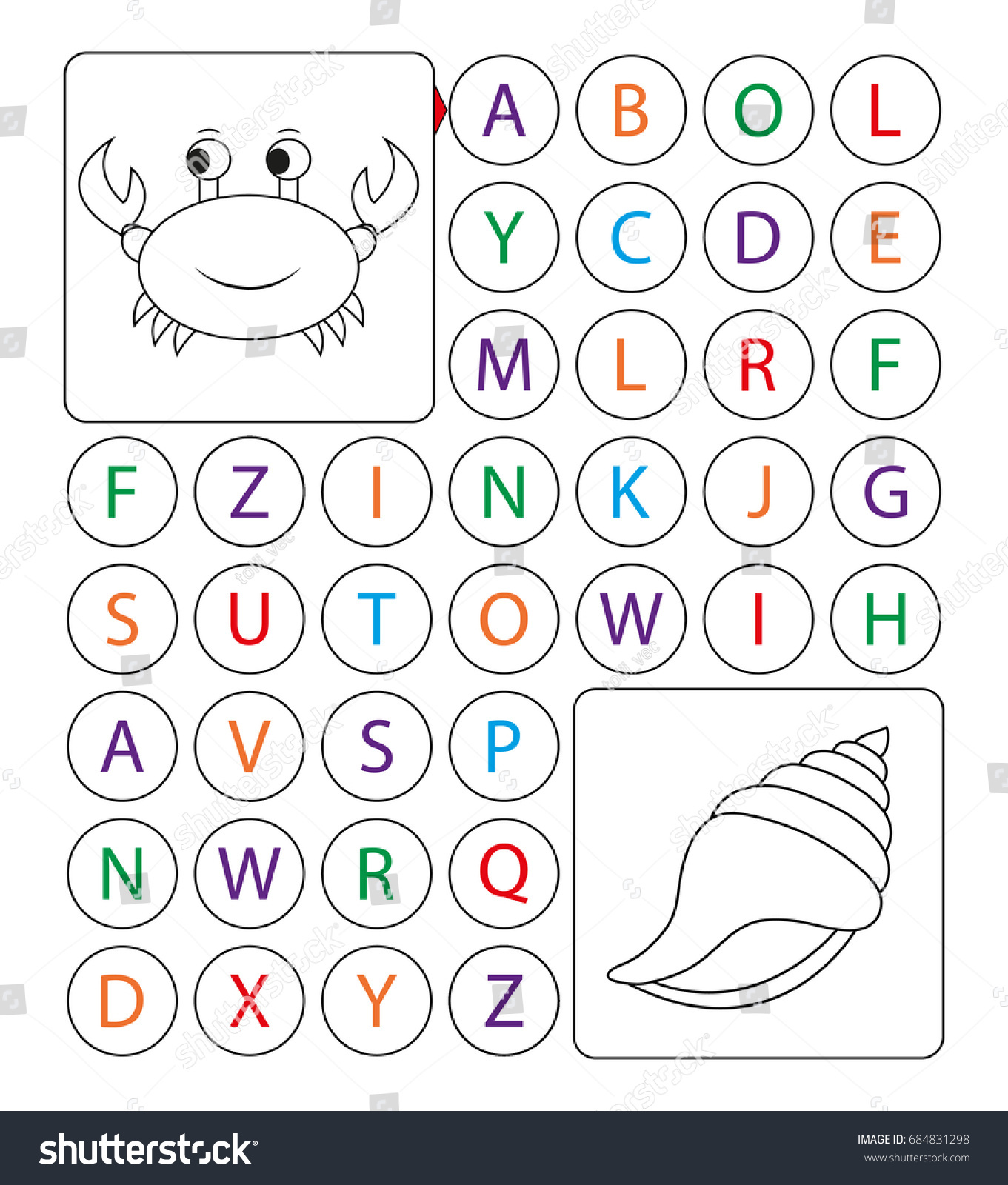 Alphabetic Labyrinth Puzzle Worksheet Learning Letters Stock Vector