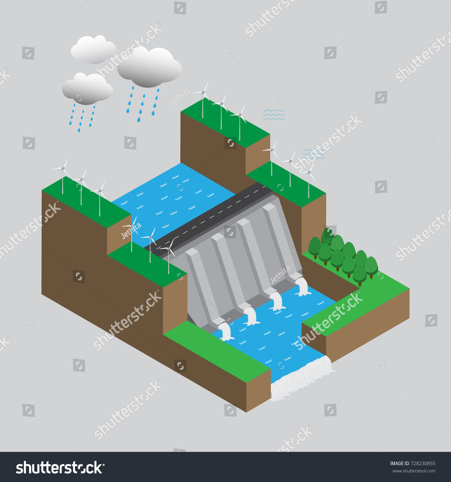 hight resolution of alternative energy sources hydroelectric power dam and windmills