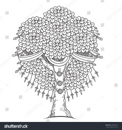 amazing monochrome tree of life in the indian style with leaves cartoon vector illustrations  [ 1499 x 1600 Pixel ]