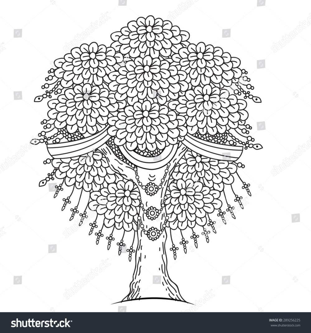 medium resolution of amazing monochrome tree of life in the indian style with leaves cartoon vector illustrations