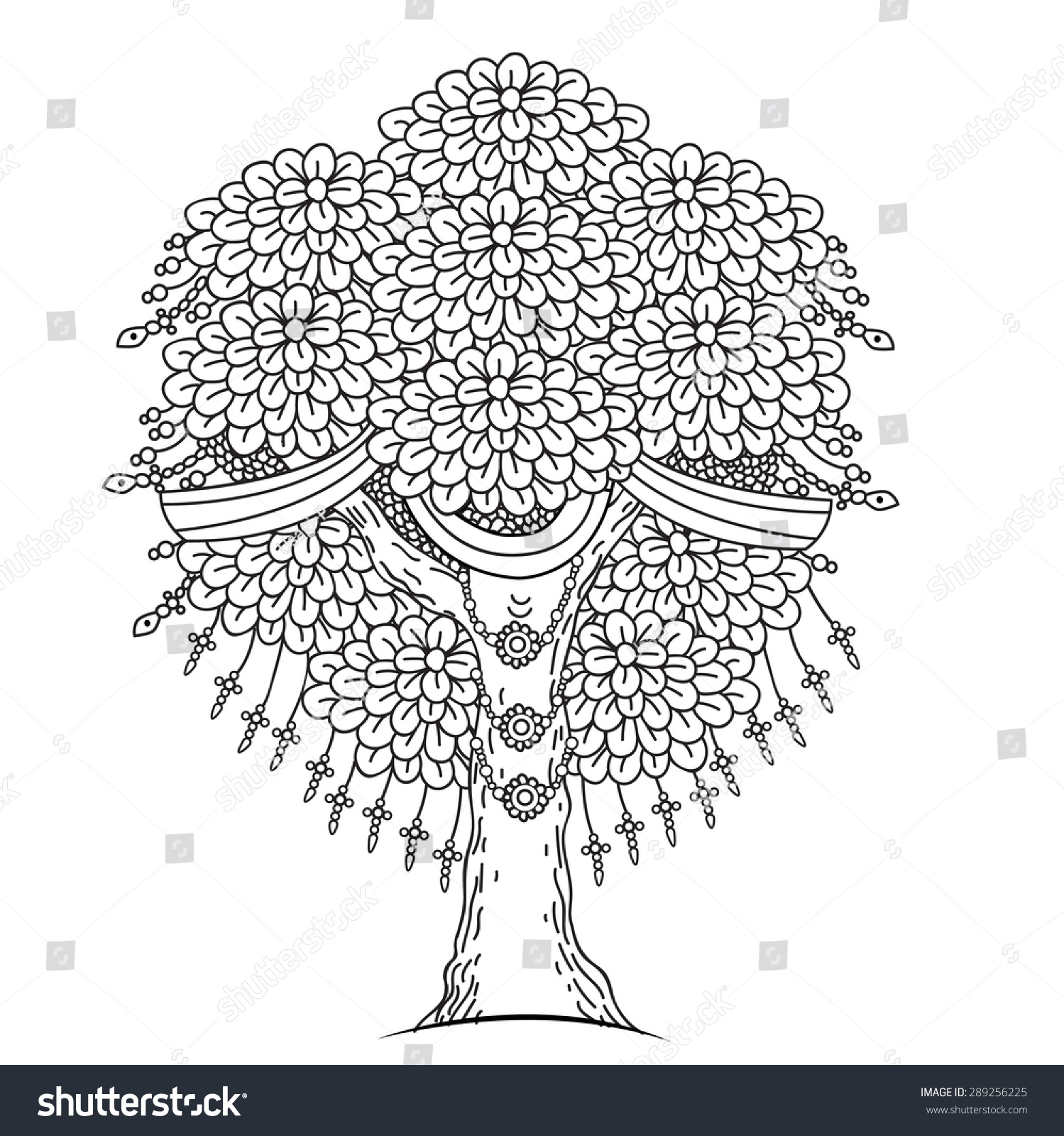 hight resolution of amazing monochrome tree of life in the indian style with leaves cartoon vector illustrations