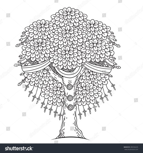 small resolution of amazing monochrome tree of life in the indian style with leaves cartoon vector illustrations