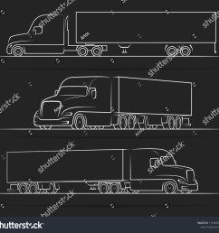 american road train silhouettes outlines contours stock vector semi trailer wiring diagram semi truck diagram views [ 1500 x 1426 Pixel ]