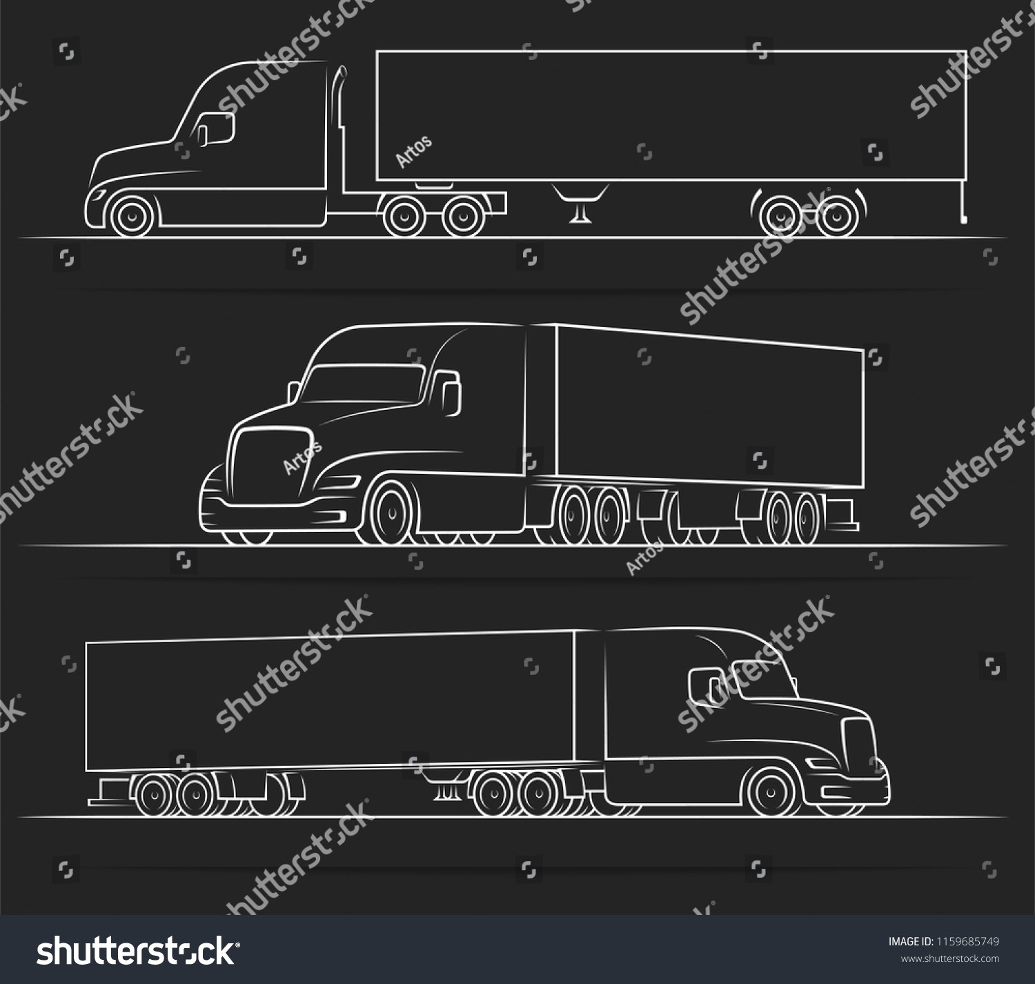 hight resolution of american road train silhouettes outlines contours stock vector semi trailer wiring diagram semi truck diagram views