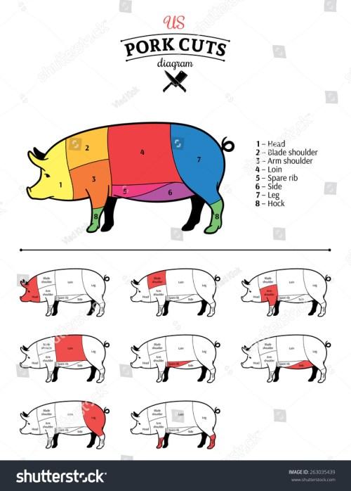 small resolution of american us pork cuts diagram
