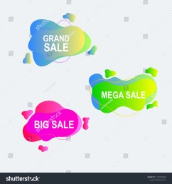 amoeba flat label and price tag design with gradient color [ 1500 x 1600 Pixel ]