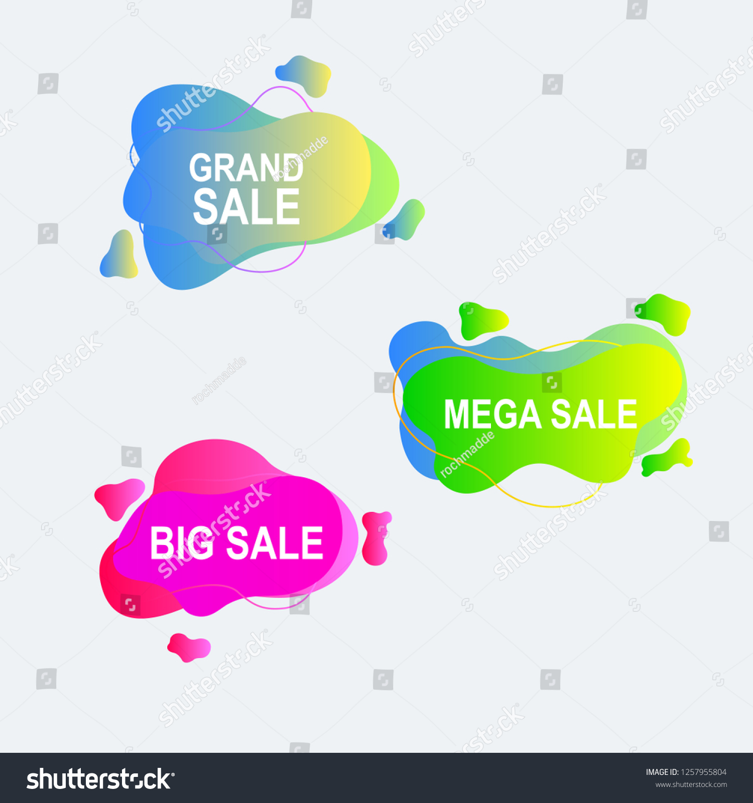 hight resolution of amoeba flat label and price tag design with gradient color