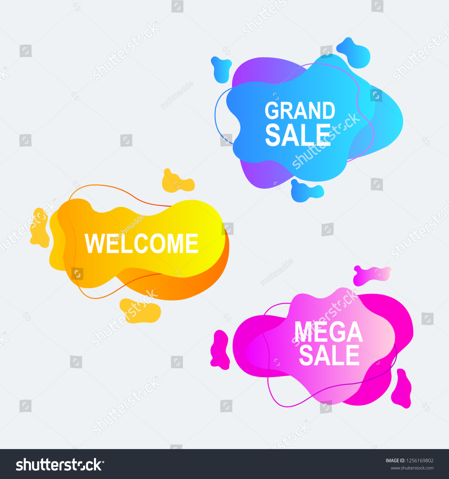 hight resolution of amoeba label and price tag with gradients color design