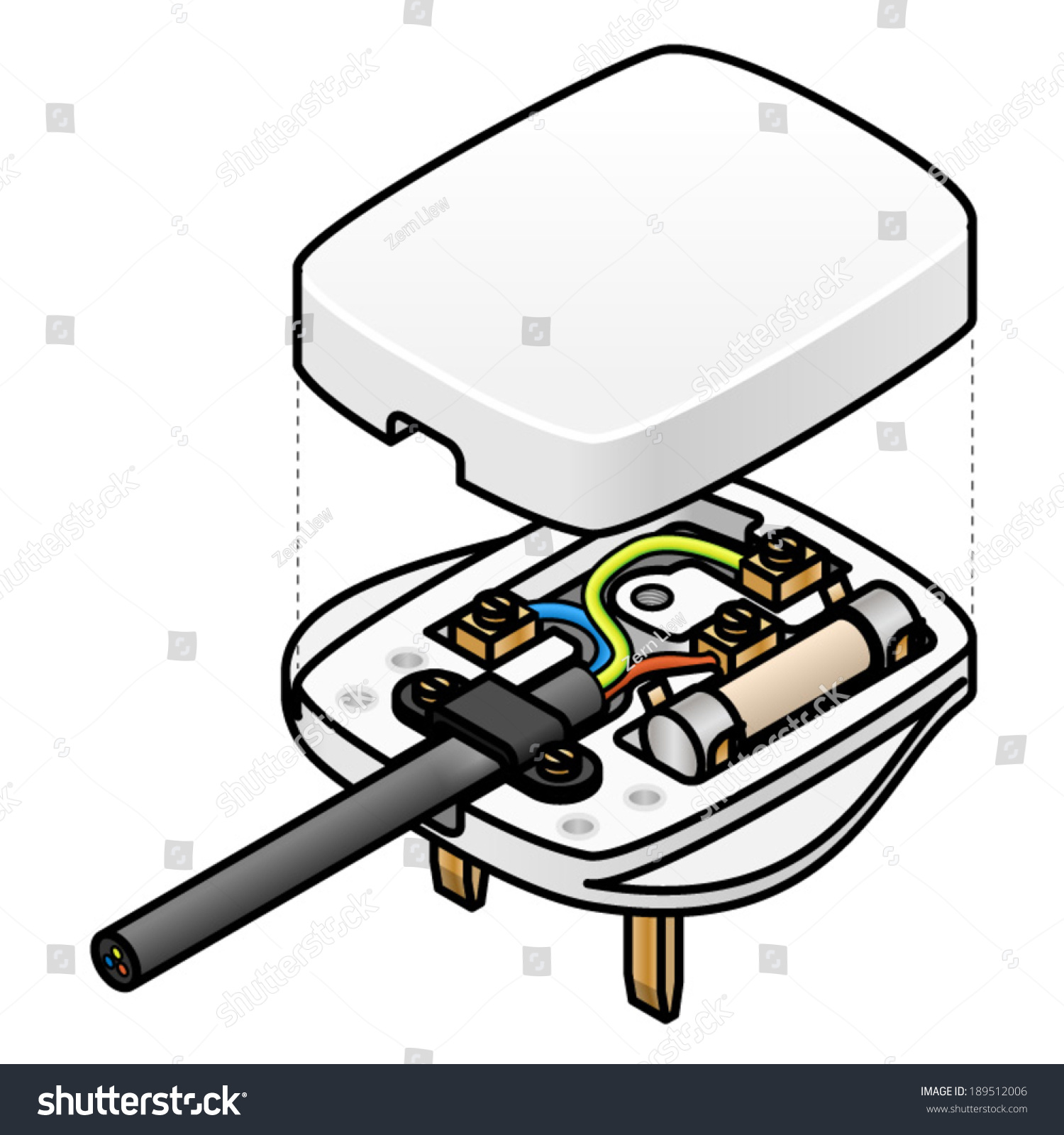 socket wiring diagram uk 24v thermostat an exploded of a mains ac plug showing the