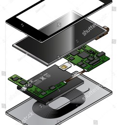 an exploded diagram showing the internal components of a smart phone with a wireless charging induction [ 1067 x 1600 Pixel ]