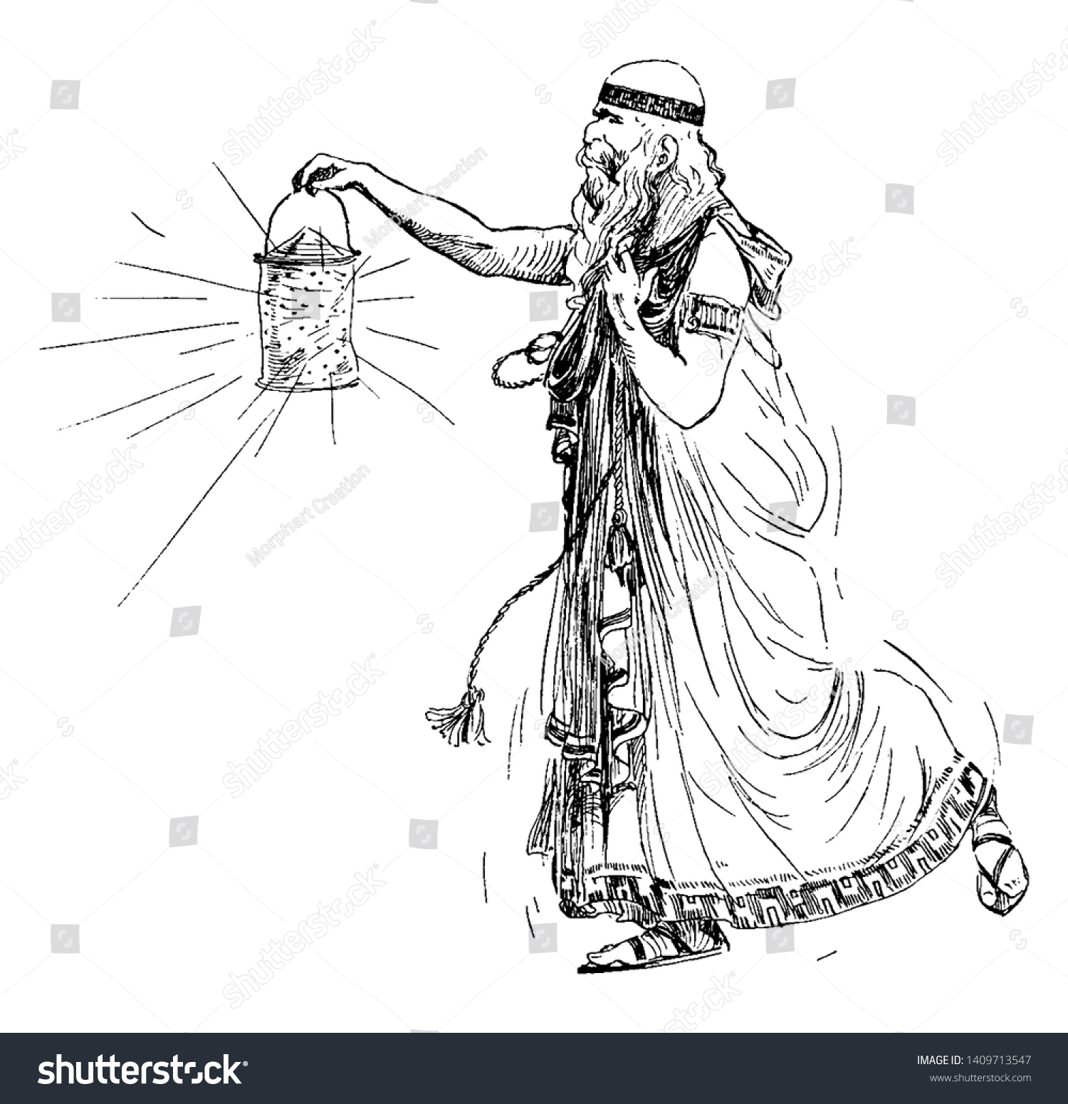 Old Man Lantern Vintage Line Drawing Stock Vector Royalty Free 1409713547