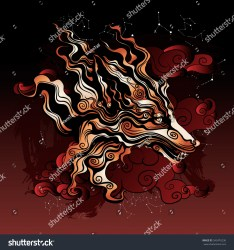 fox mythical ancient folklore eastern shutterstock sky clouds vector official