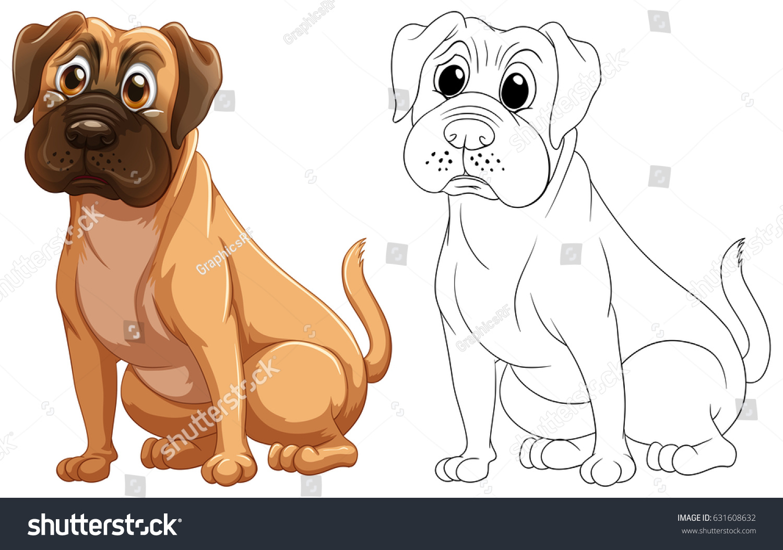 Animal Outline Cute Dog Illustration Stock Vector