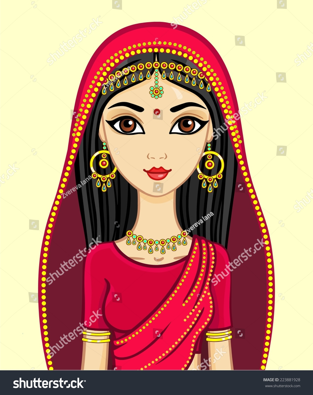 Animation Indian Princess Traditional Suit Gold Stock