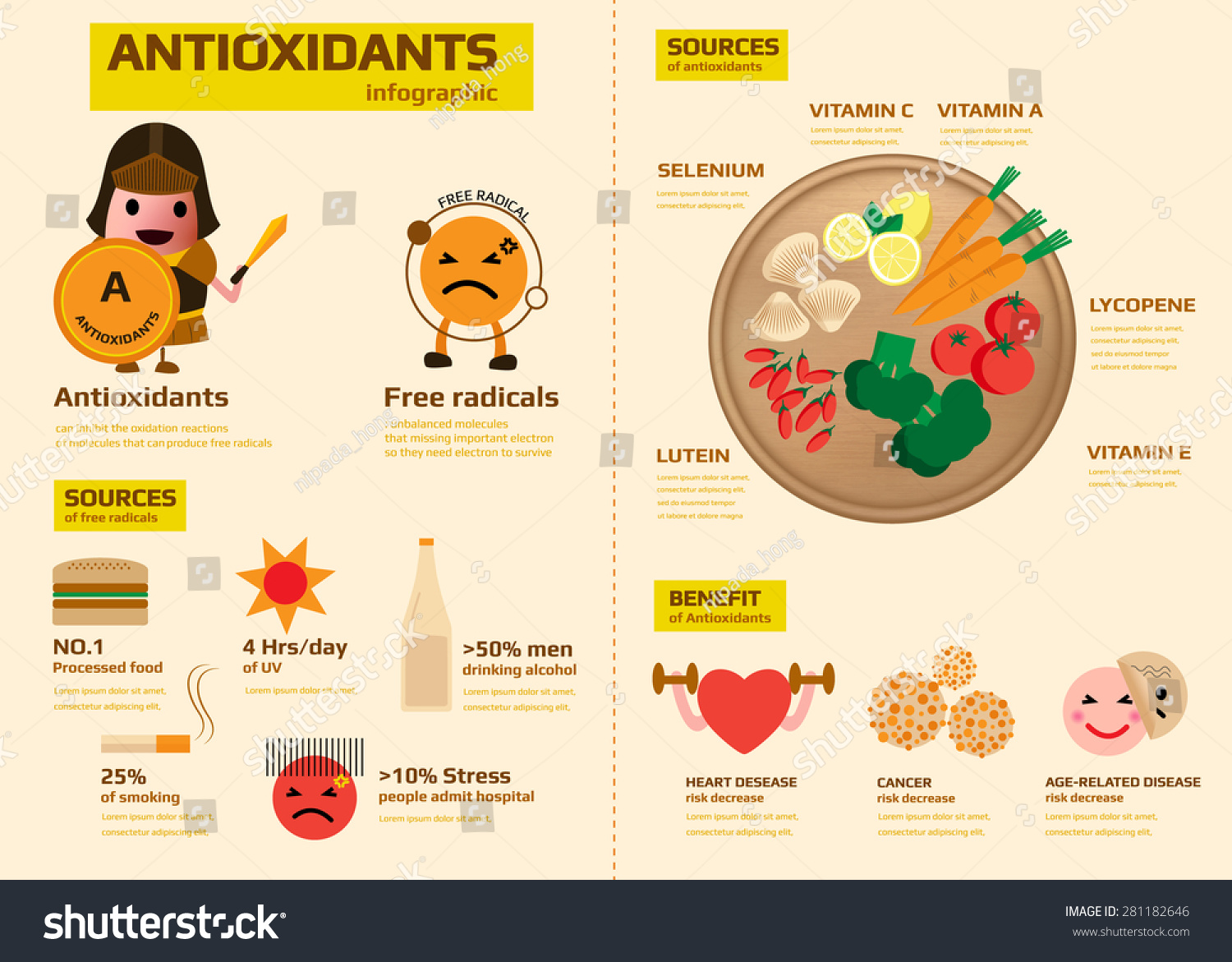 Antioxidants Infographic Contain Sources Free Radical Stock Vector 281182646 - Shutterstock