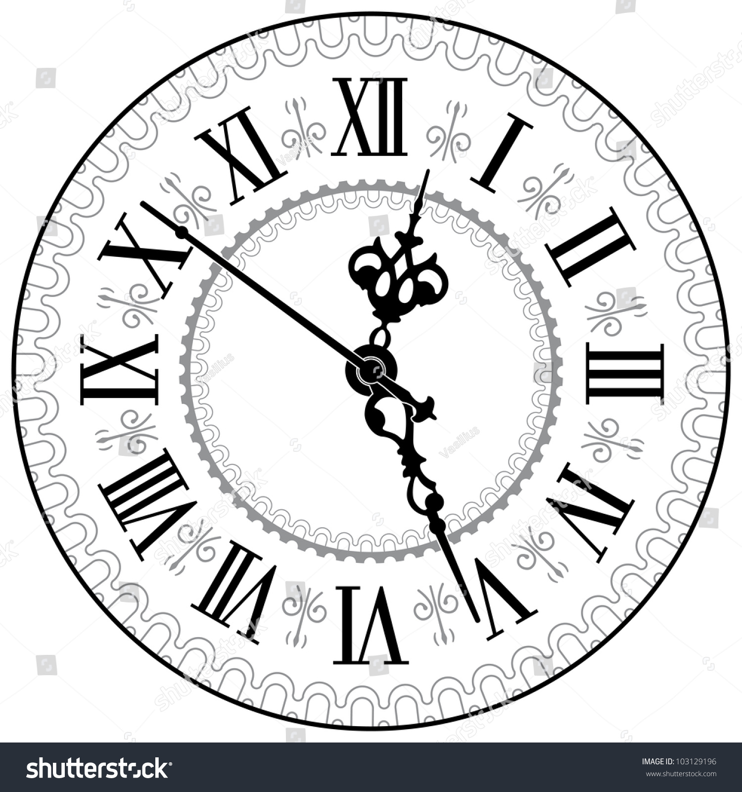 Roman Clock Numeral Vectors Face