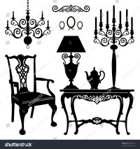Antique Decorative Furniture Collection, Black Silhouettes ...