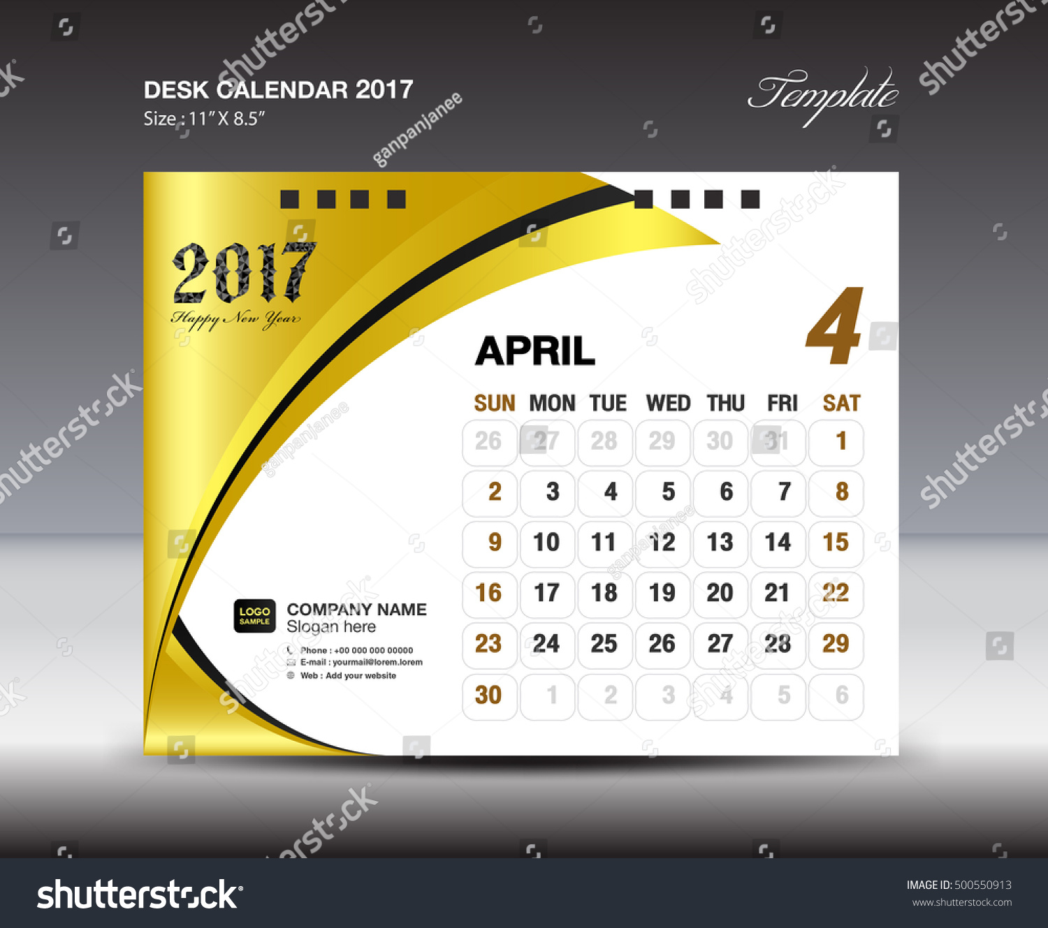 Gallery of Blue Cover Desk Calendar 2017 Design Template Calendar ...