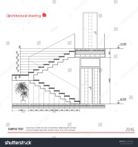 Architectural Drawings Stairs Stock Vector 352426256 ...