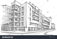 Architecture Sketch Drawing Buildingcity Stock Vector ...