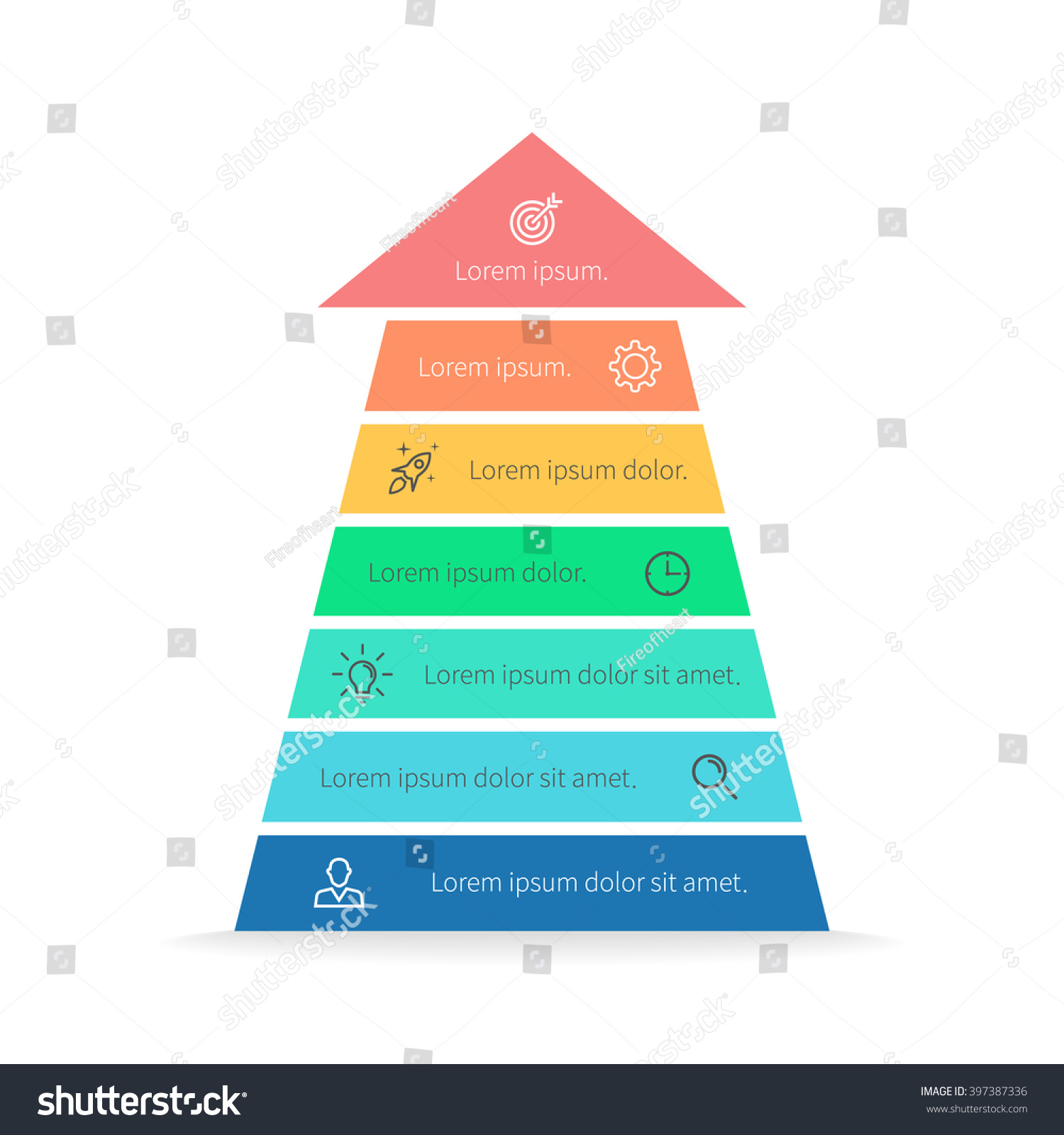 hight resolution of arrow pyramid chart diagram scheme graph with 7 steps