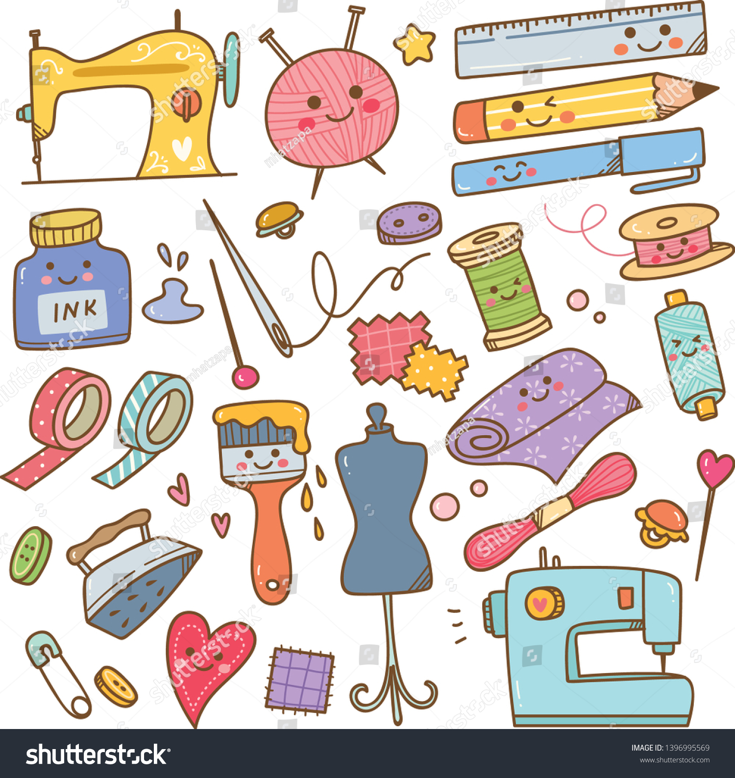 Art Craft Supplies Doodle Diy Tools Stock Vector Royalty Free 1396995569