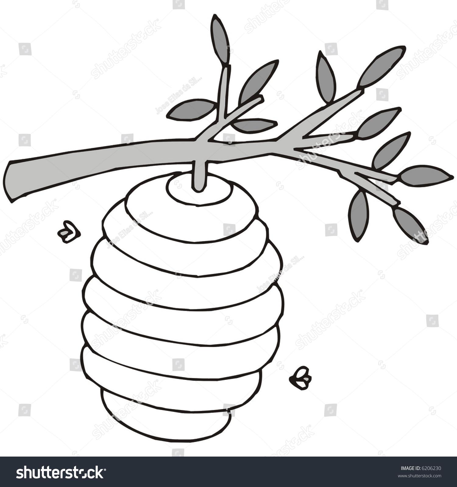 Art Illustration Black White Beehive Stock Vector