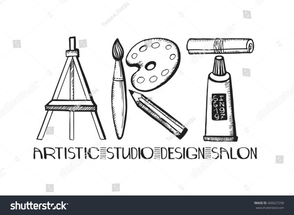 Art Lettering Salondesign Studio Logoposter Templatevector
