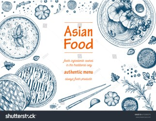 food background poster asian vector menu sketch frame restaurant shutterstock illustration