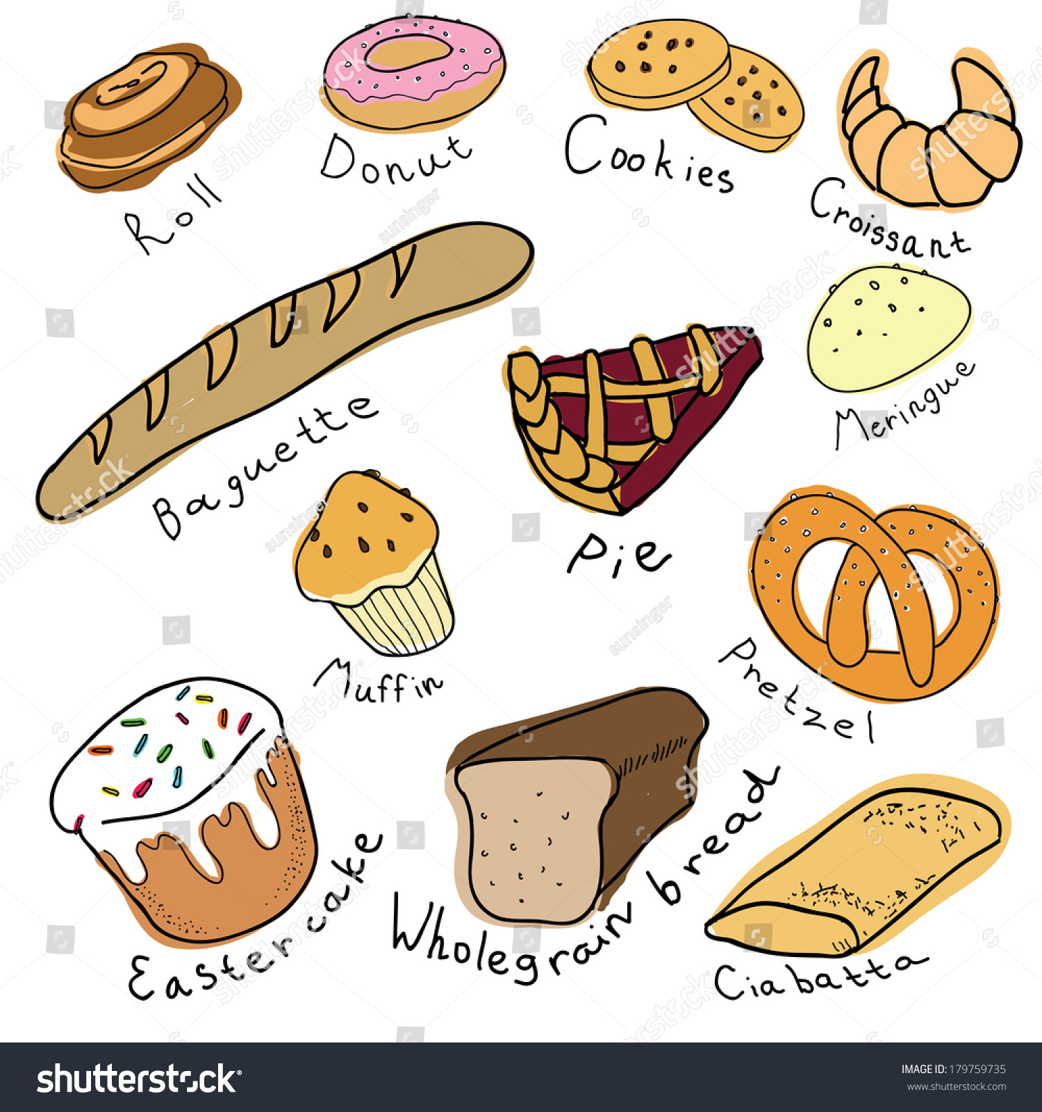 Assortment Different Types Bread Stock Vector