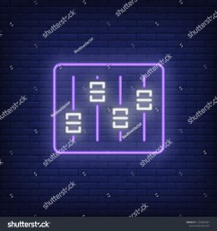 audio console neon sign luminous signboard with faders on control desk night bright advertisement vector illustration in neon style for record studio  [ 1500 x 1600 Pixel ]