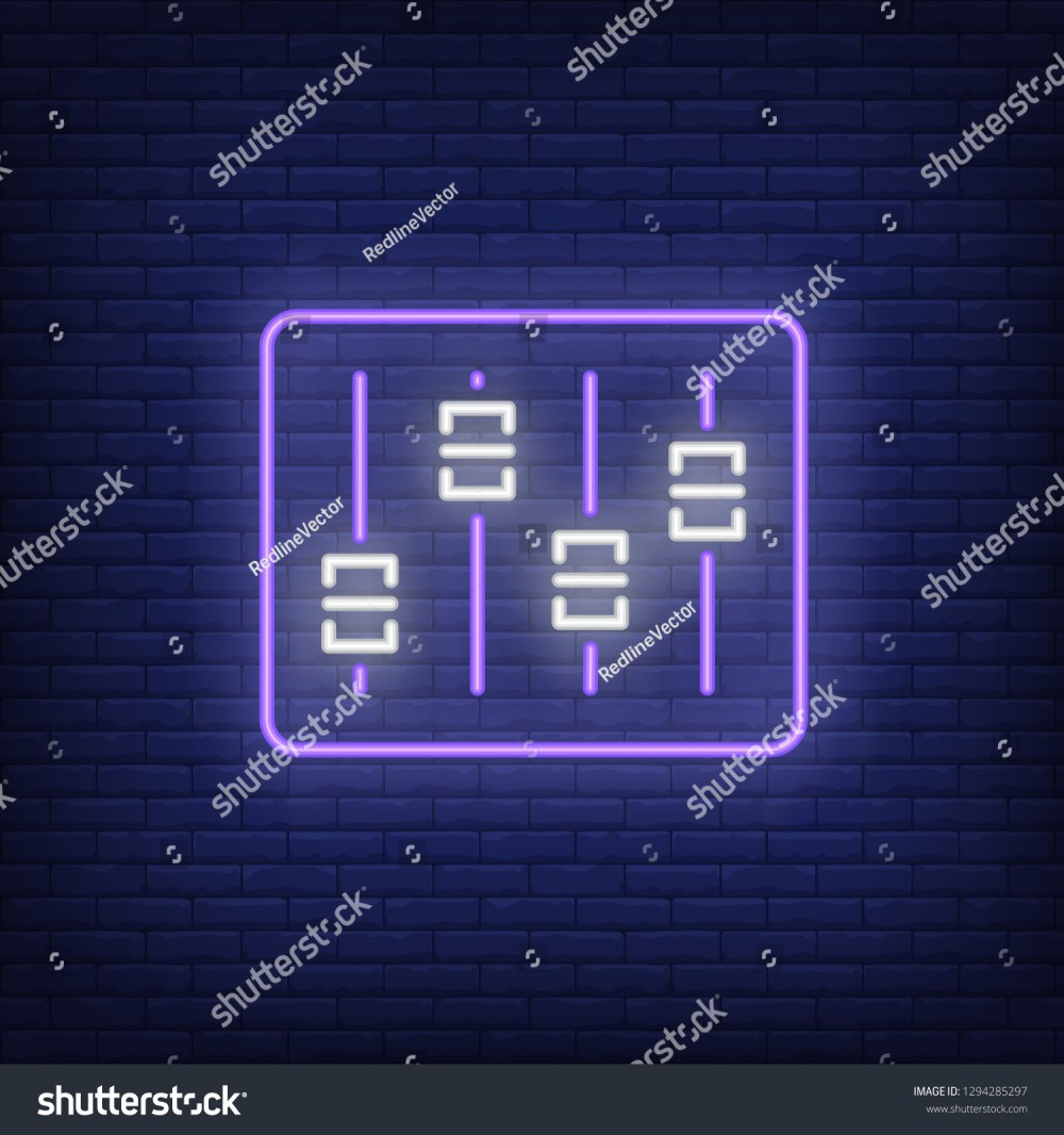 medium resolution of audio console neon sign luminous signboard with faders on control desk night bright advertisement vector illustration in neon style for record studio