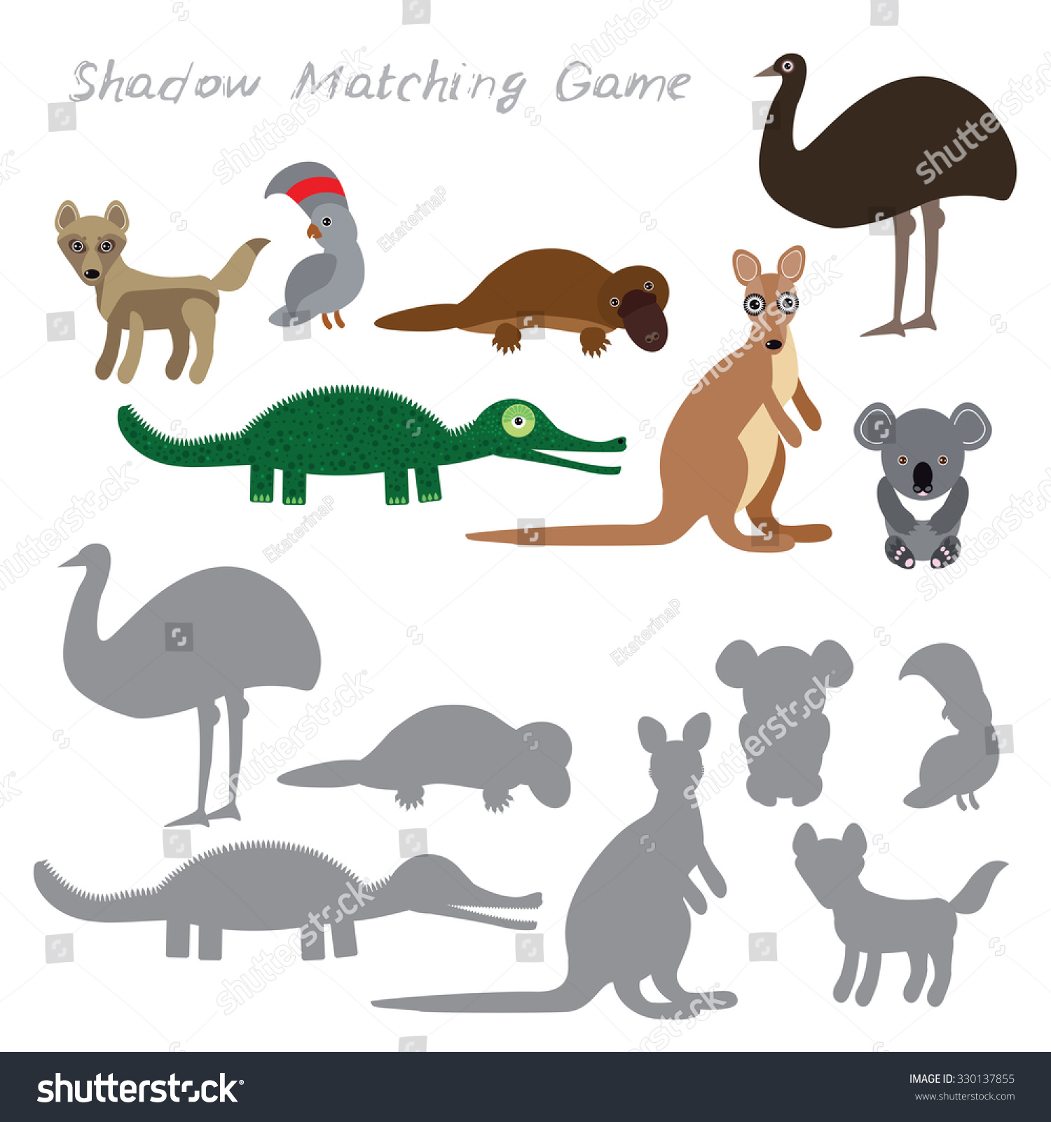 Australian Animals Dingo Emu Parrot Crocodile Koala Kangaroo Platypus Isolated On White