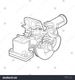 automobile turbocharger diagram outline vector illustrations  [ 1500 x 1600 Pixel ]