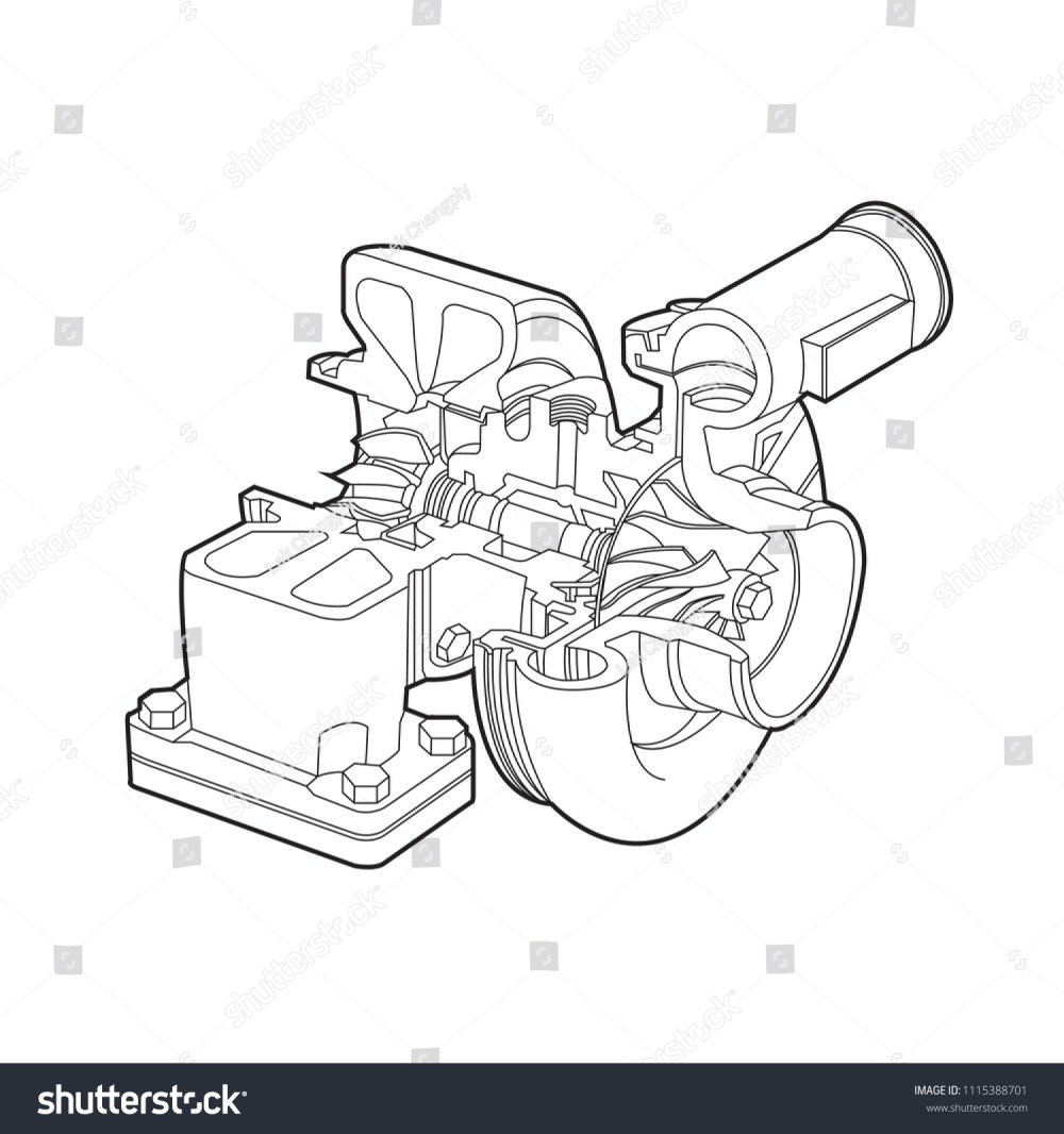medium resolution of automobile turbocharger diagram outline vector illustrations
