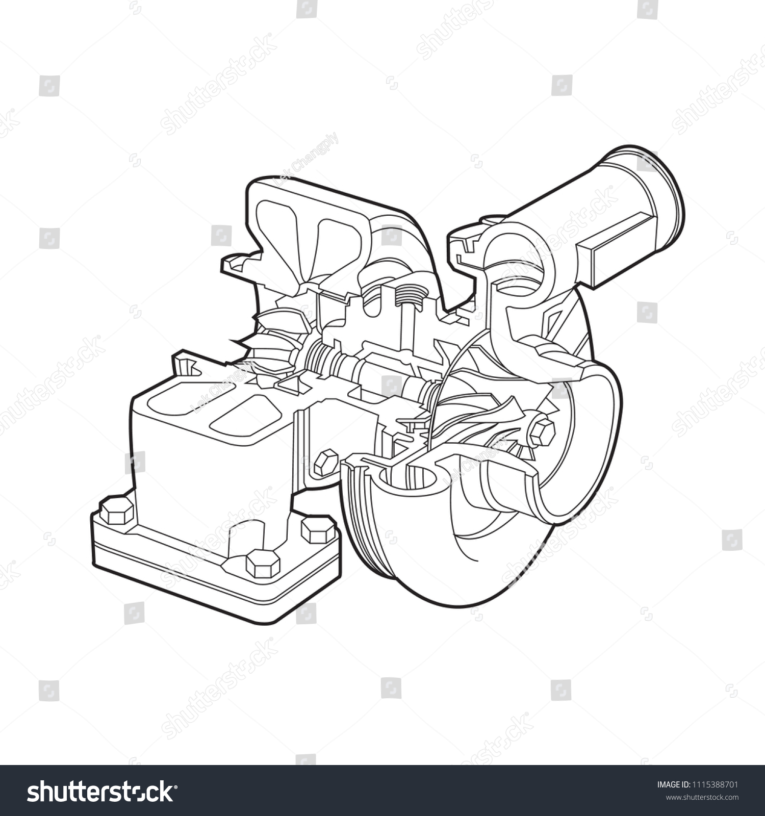 hight resolution of automobile turbocharger diagram outline vector illustrations