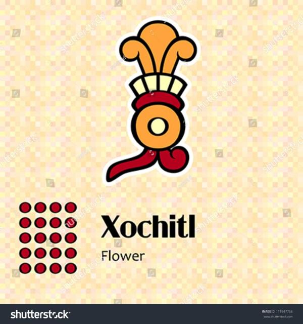 Aztec Calendar Symbols Xochitl Flower 20 Stock Vector