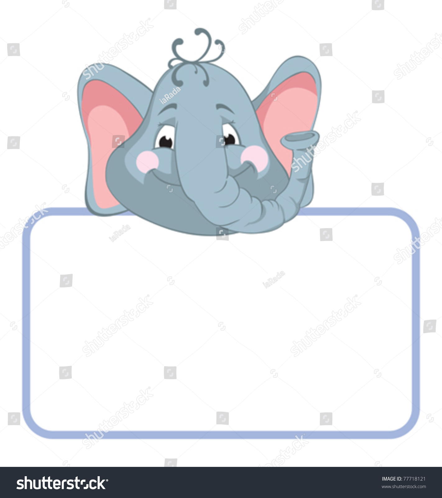 Baby Animal Banner Elephant Cartoon Label Stock Vector