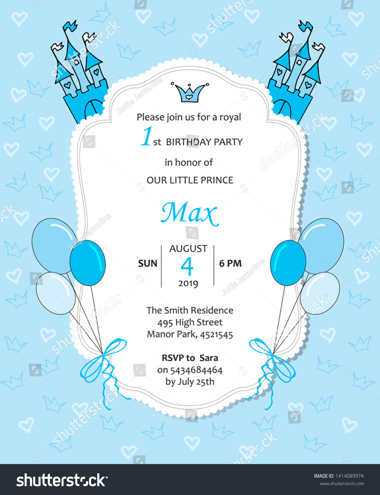 https www shutterstock com image vector baby boy royal birthday invitation balloons 1414089974